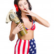 Stock Photo: Americmilitary pin up girl holding gasmask