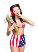 American military pin up girl holding gasmask — Stock Photo