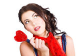 Beautiful pinup girl holding candy. Sweet heart — Stock Photo