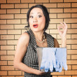 Funny female cleaner giving ok hand sign. Clean — Stock Photo