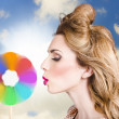 Makeup beauty girl blowing hair colors palette — Stock Photo #28518983