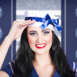 Classic 40s pin up navy girl saluting with smile — Stock Photo