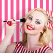 Smiling makeup girl using cosmetic powder brush — Stock Photo