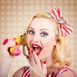 Woman on banana telephone. Health eating news — Stock Photo #28537645