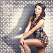 Fashion photo. Young pinup woman with retro makeup — ストック写真