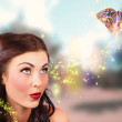 Fantasy fine art beauty. Fairy tale butterflies — Stockfoto