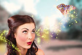 Fantasy fine art beauty. Fairy tale butterflies — Stock Photo
