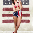 Grunge pin up woman in american fashion style — Stock Photo