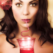 pinup poster girl drinking at retro cocktail party — Stock Photo