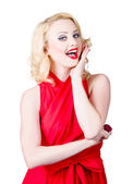 Beautiful pin up girl smiling and whispering — Stock Photo