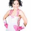 Stock Photo: Smiling spring cleaning woman. Isolated housework
