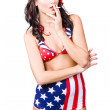 Beautiful american military pin up girl — Stock Photo