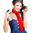 Cute girl model styling a hairdo. Pinup your hair — Stok fotoğraf