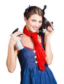 Cute girl model styling a hairdo. Pinup your hair — Stock Photo