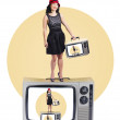 Woman on retro television set — Stock Photo