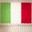 Italy flag brick wall background — Stock Photo
