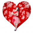 Valentines day woman holding love heart card — ストック写真