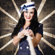 Marine sailor corps girl. Vintage design portrait — Stock Photo
