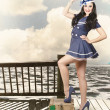 Vintage sailor girl. World tour travel cruise — Stock Photo