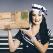 Retro maritime portrait. Woman in sailor fashion — Stock Photo