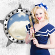 Pinup travel cruise. Seafaring girl with telescope — Stock Photo