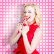 Nail hand model. Retro pinup girl with red nails — Foto de Stock