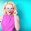 Model girl wearing retro glasses. Style perfection — Stock Photo