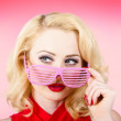 Retro woman model wearing summer sun glasses — Foto Stock