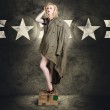 Vintage army pinup woman in military fashion — Stock Photo