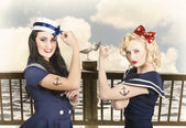 Vintage pinup style. Two retro sailor pinup girls — Foto de Stock