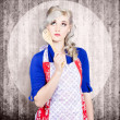 Young pinup housewife thinking what to cook — Stock Photo