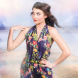 Outdoor fashion portrait. Spring twilight beauty — Stock Photo