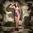 Retro pinup girl in American army lingerie — Stock Photo