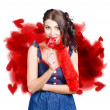 Valentines day woman eating heart candy — Stock Photo
