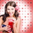 Travel holiday woman drinking red cocktail — Stock Photo