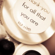 Thank you wedding buttons. Low DOF Macro — Stock Photo