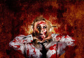 Scary zombie woman with expression of shock horror — Stock Photo