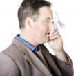 Stock Photo: Sick business mwith cold and flu cough
