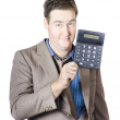 Tax return time. Accountant man holding calculator — Photo