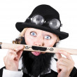 Foto Stock: Woman With Fake Beard Holding A Pencil Having Mustache
