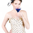 Young Woman Drinking Alcoholic Beverage — Stockfoto