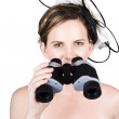 Beautiful Young Woman With Binoculars — Stok fotoğraf