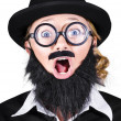 Woman With Fake Beard And Mustache Screaming — Stock Photo