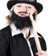 Woman Dressed Like Man With Large Pencil — Stock Photo
