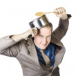 Businessman With Saucepan And Spatula — Stock Photo