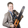 Excited Businessman With Chainsaw — Stock Photo