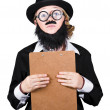 Contemplated Disguised Woman Holding Clipboard — Stock Photo