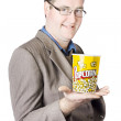 Popcorn Bucket On Businessman's Hand — Stock Photo
