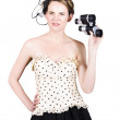 Young Woman With Binoculars — Stock Photo