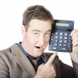 Businessman Pointing At Calculator — Stok fotoğraf